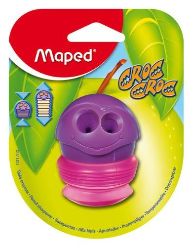 Maped Croc-Croc 2-Hole Pencil Sharpener With Expandable Canister, Assorted Colors (001700St), 2015 Amazon Top Rated Pencil Sharpeners #OfficeProduct