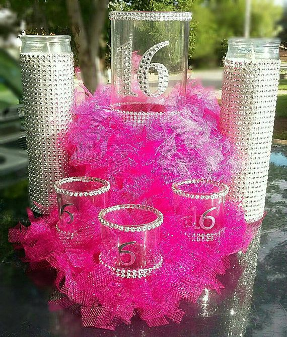 This 6 pc. Bling centerpiece set comes with one 9 inch vase, two 8 inch bling candles and three 2.6 inch mini vases. This set can be customized with any color you choose and a name or number you like. 6 pc. Bling set is ready in 3-5 days. I ship 6 ground so please plan accordingly.