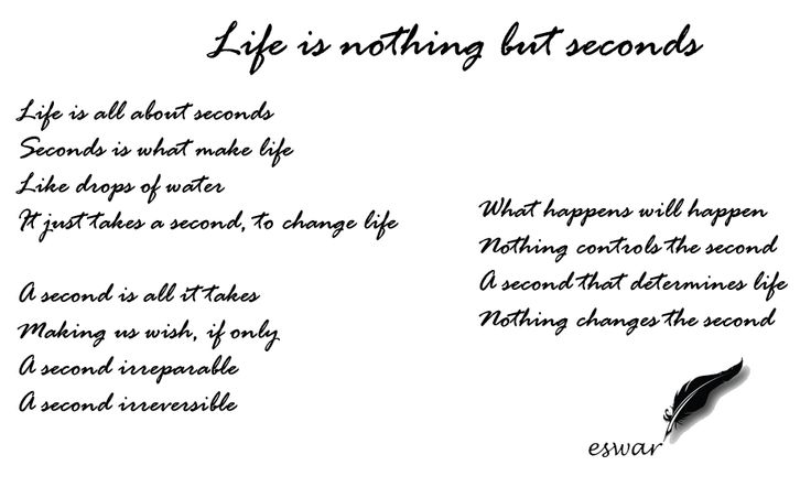 Life is all about seconds Seconds is what make life Like drops of water  It just takes a second, to change life  A second is all it takes Making us wish, if only A second irreparable A second irreversible  What happens will happen Nothing controls the second A second that determines life Nothing changes the second  Written at 21.36 on 20 May 2016 While travelling back from Mumbai to Hyderabad by car  #EswarAnandan #PoeticThoughts #Journey