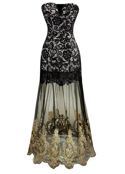 Gatsby Inspired Lace Mermaid Sheer Vintage Look 1920's Art Deco Cocktail Dress #Unbranded #BallGown #Formal