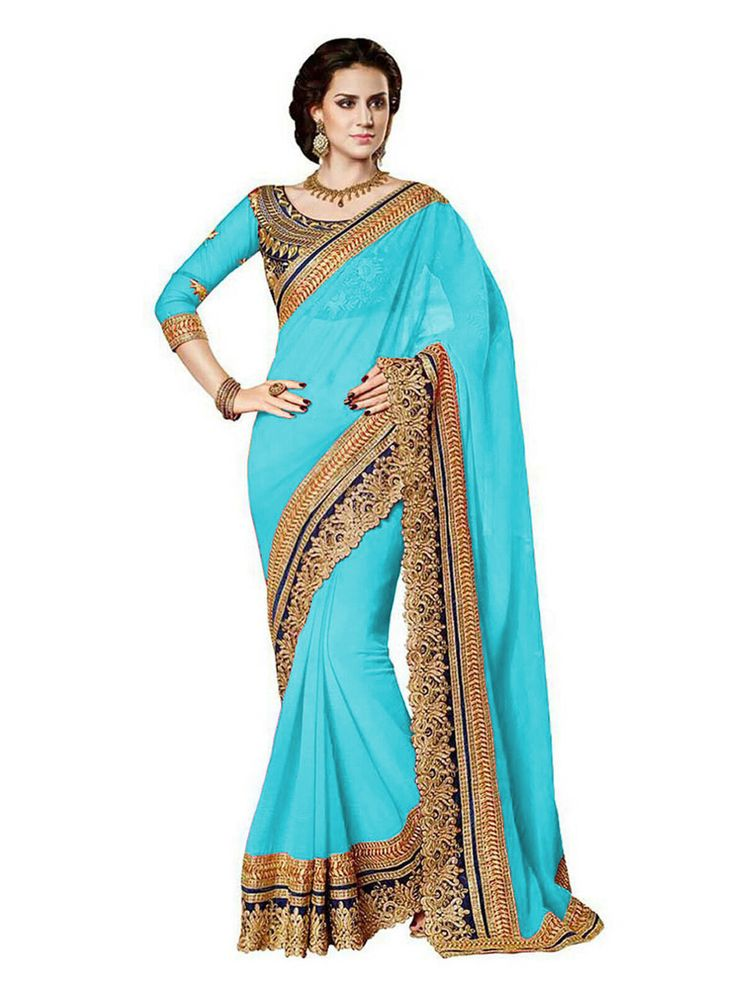 Sky Blue Georgette Party Wear Saree 69753