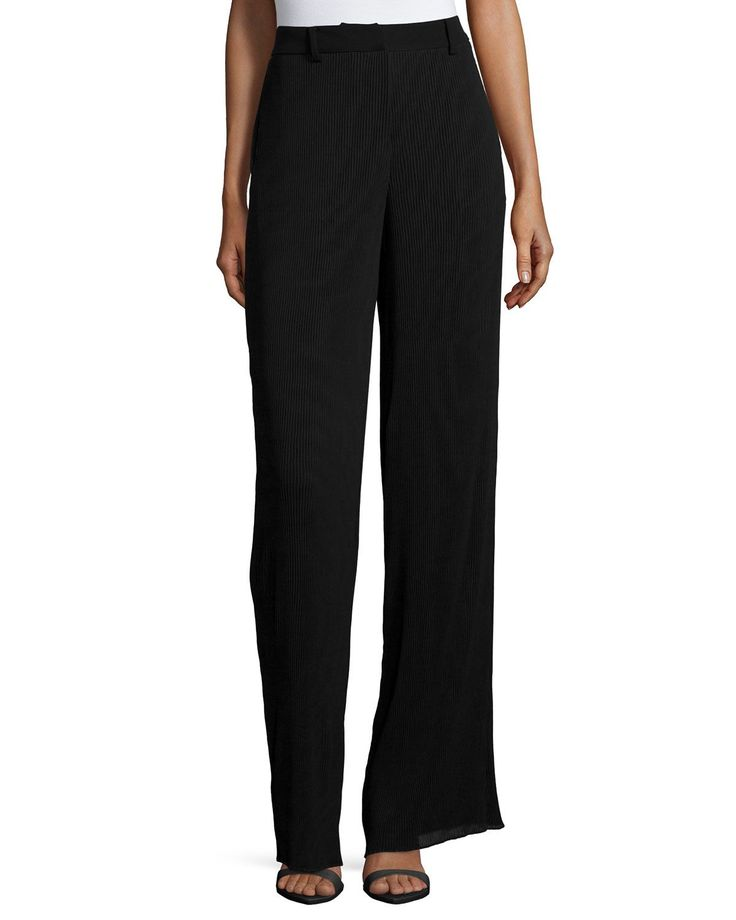 Pleated High-Waist Pants, Black, Size: 42 - McQ Alexander McQueen