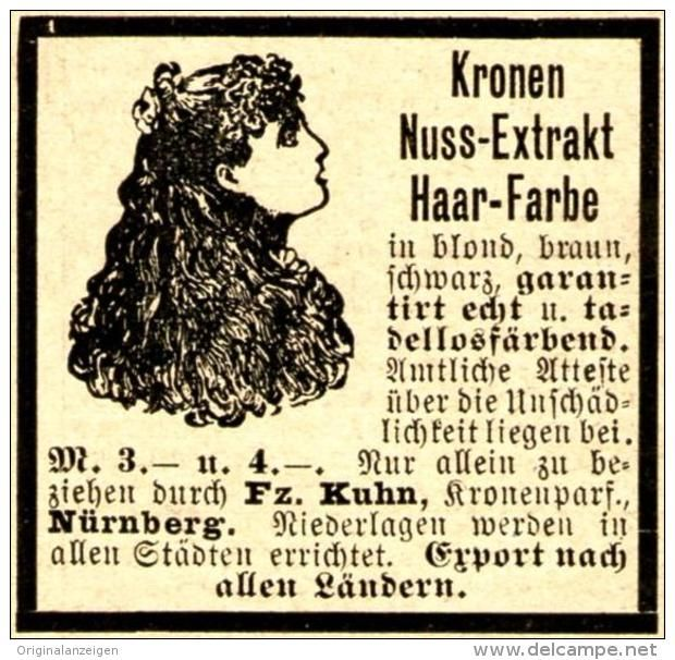 Original-Werbung/ Anzeige 1897 - KRONEN NUSS - EXTRACT HAARFARBE / KUHN NÜRNBERG - ca. 45 x 45 mm