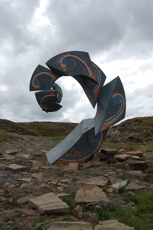 Frond - one of the art installations at Lee Quarry, Bacup. Artist: Robin Dobson. Commissioned by Mid Pennine Arts as part of the Valley of Stone project.