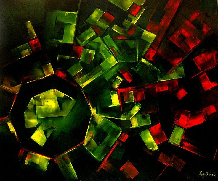 Opere - AGATHOSOTTO GENESIS – olio su tela – 120×100 – 2013 L'Universo Adimensionale di Agathos prende le forme del pensiero Funzionalista di natura Costruttivista