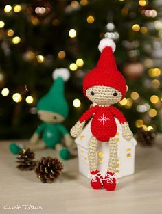 christmas elf, free crochet pattern, X-mas, keychain, decoration, #haken, gratis…