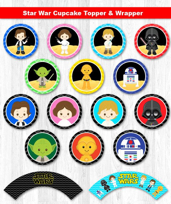 Star Wars Cupcake Toppers Star Wars Cupcake Wrappers by KidzParty