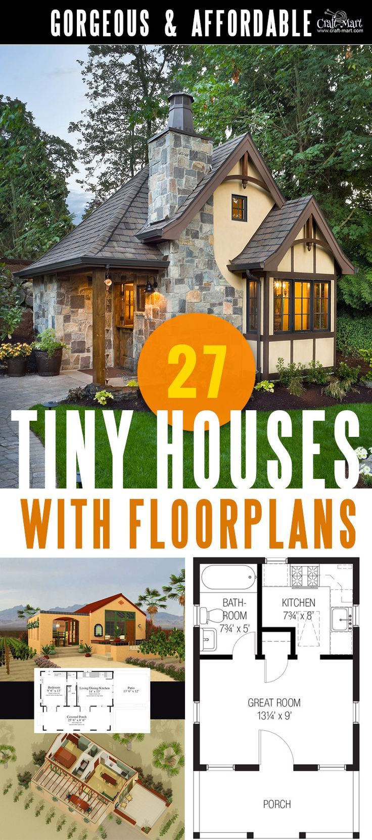 27 Adorable Free Tiny House Floor Plans | House floor plans ...