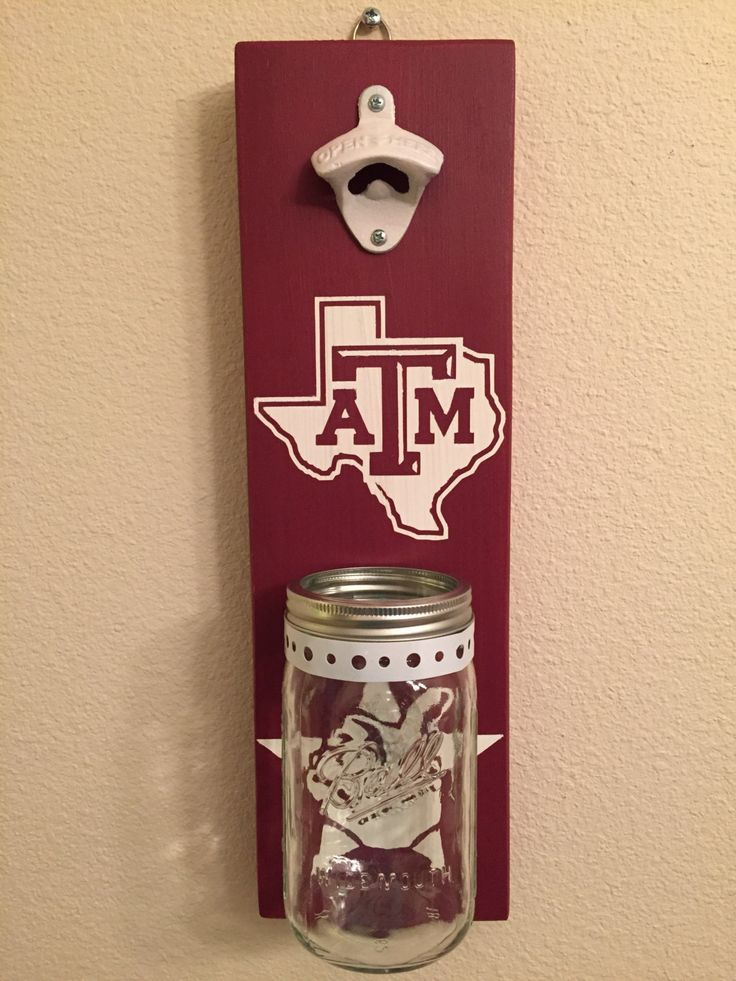 TEXAS A&M Bottle Opener with Mason Jar Rustic Football ATM - pinned by pin4etsy.com