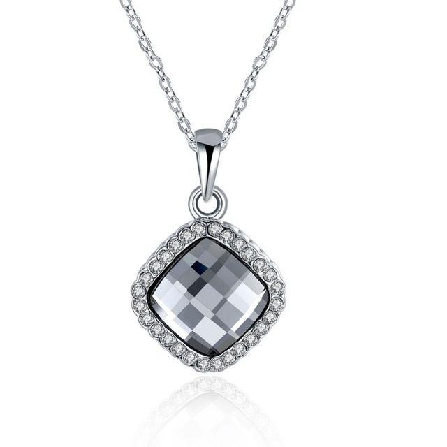 Черный Австрийский Кристалл Овальный Кулон Ожерелья 18 К Белый Позолоченные Ясно CZ Colar Подарки Для Женщин Ювелирные Изделия Bijoux Femme