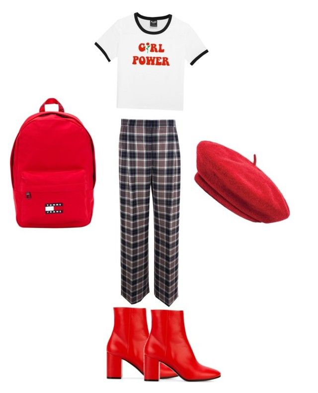 red or ded by gerbera3 on Polyvore featuring polyvore, fashion, style, Tory Burch, Balenciaga, Tommy Hilfiger, Brixton, clothing, red, plaid, beret and girlpower