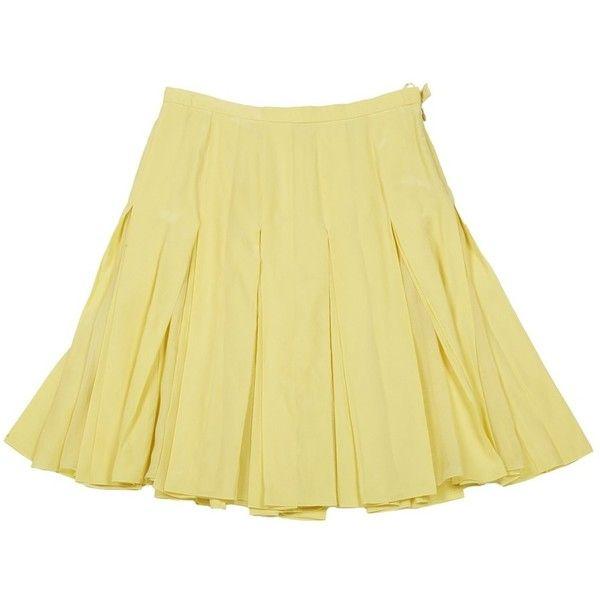 Pre-owned Louis Vuitton Silk Mini Skirt ($114) ❤ liked on Polyvore featuring skirts, mini skirts, silk mini skirt, beige mini skirt, short pleated skirt and silk pleated skirt