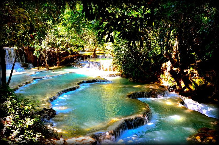 Kuang- Si Falls: Amazing cascades with torquoise blue water