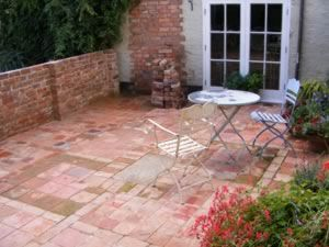 Patio From Reclaimed Bricks And Tiles