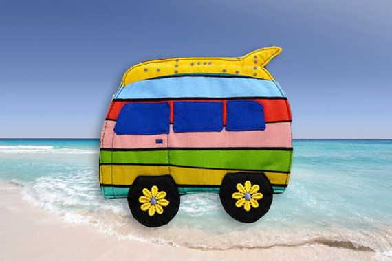 Surfboard camper coaster Makeforgood Beach by RobynFayeDesigns