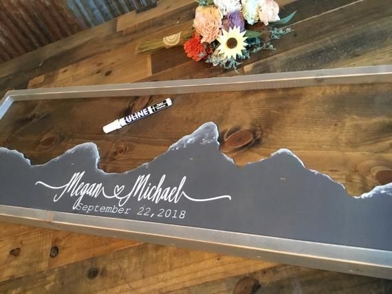 Mountain Wedding Guest Book Alternative- Mountain Wall Art – Wedding Guestbook – Rustic Wood Wedding Sign