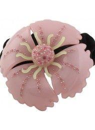 Roze diamant bloem elastiek