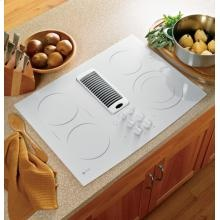 "GE Profile 30"" Downdraft Electric Cooktop. Features include: Downdraft exhaust, Ceramic-glass cooktop,  Ribbon heating elements, Bridge element, and a 6""/9"" PowerBoil element. For more information, visit us online at http://www.swappliances.com/"