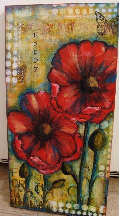 Mixed media poppy painting