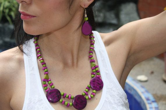 Happy Hour necklace tagua nut circles in fruity punch colors red and yellow, mint and berry