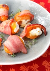 Chevre-Stuffed Turkish Apricots in Bacon Shawls