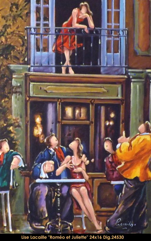 Lise Lacaille original oil painting on canvas #liselacaille #art #artist #canadianartist #quebecartist #fineart #figurativeart #originalpainting #oilpainting #CanadianArt #couple #bistro #multiartltee #balcondart