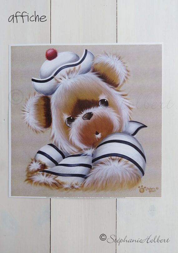OURS marin, Reproduction, carte postale ou affiche d'Art, postal card or Fine Art Print, de Stéphanie Holbert