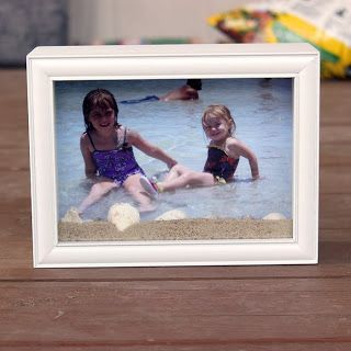 Beach Picture Frame Shadow Box - Save memories with photo, beach sand, shells and a shadow box.