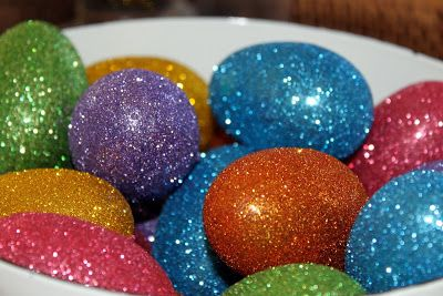 Glittered Eggs  I applied a somewhat thin coat of mod podge with a foam brush & then liberally sprinkled my glitter