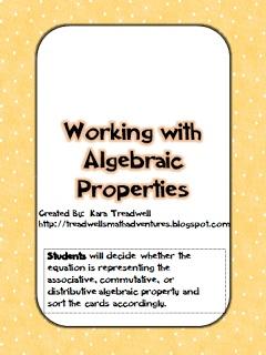 Algebra Properties Matching Game