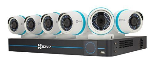 EZVIZ Smart Home 1080p Security Camera System, 6 Weatherproof 1080p IP PoE Cameras, 8 Channel NVR 2TB HDD, 100ft Night Vision, Works with Alexa using IFTTT
