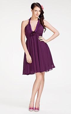uma linha de cabresto curto / mini vestido da dama de honra chiffon