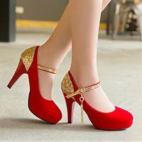 Piccolo grande formato nero punta rotonda sottili da sposa sexy Pelle Scamosciata medio scarpe tacco alto pompe delle donne della signora cunei rossi scarpe tacchi da sposa