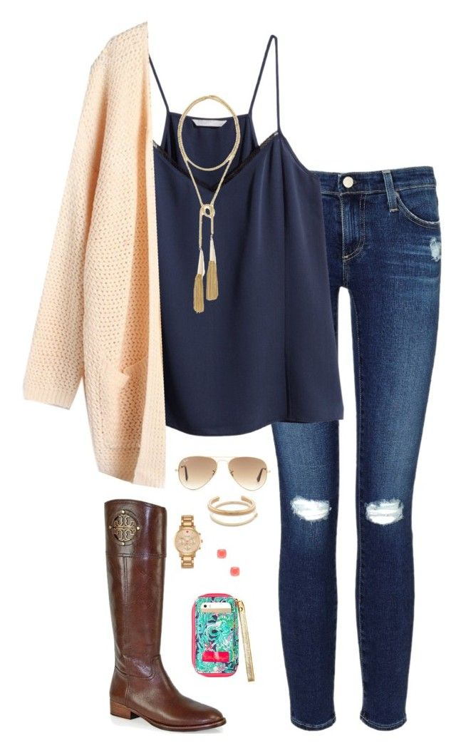~Chicago~ by baileyanneking on Polyvore featuring polyvore fashion style H&M AG Adriano Goldschmied Tory Burch Kendra Scott Kate Spade J.Crew Ray-Ban clothing
