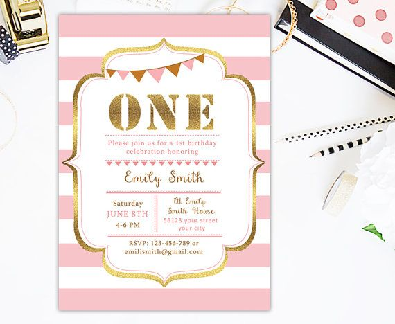 1st Birthday Invitation Pink and Gold by CutePaperStudio on Etsy