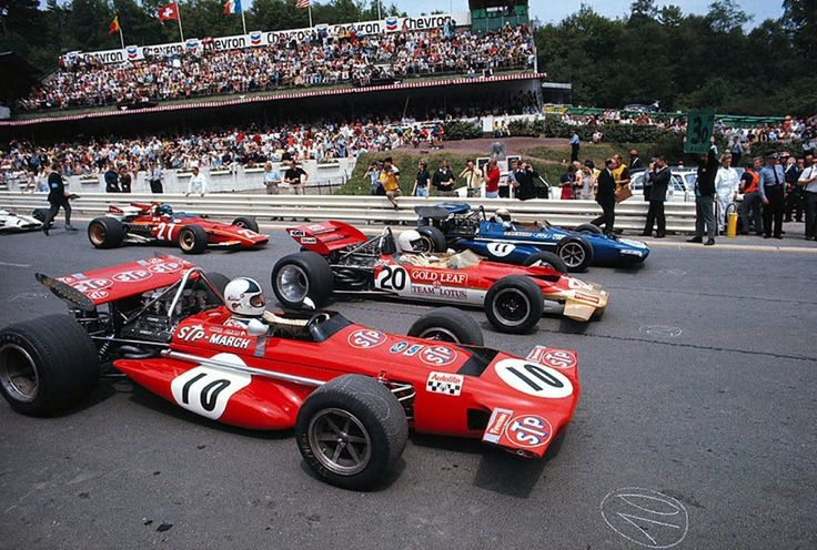 The front row of the grid at the 1970 Belgian Grand Prix - Chris Amon in the March 701.