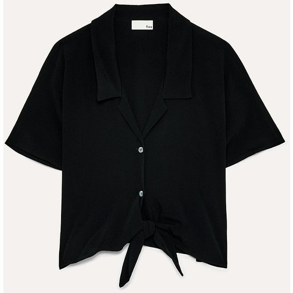 the tie-front blouse Aritzia (362805 PYG) ❤ liked on Polyvore featuring tops, blouses, tie front blouse and tie front top