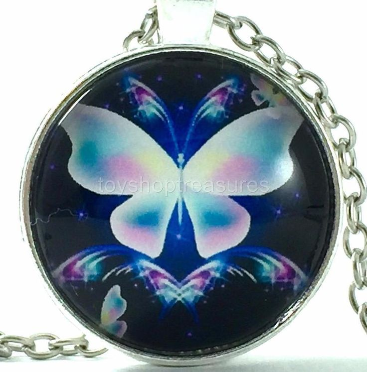 New Flourescent Butterfly Necklace Pink Blue Butterfly Purple Pendant  Silver bf