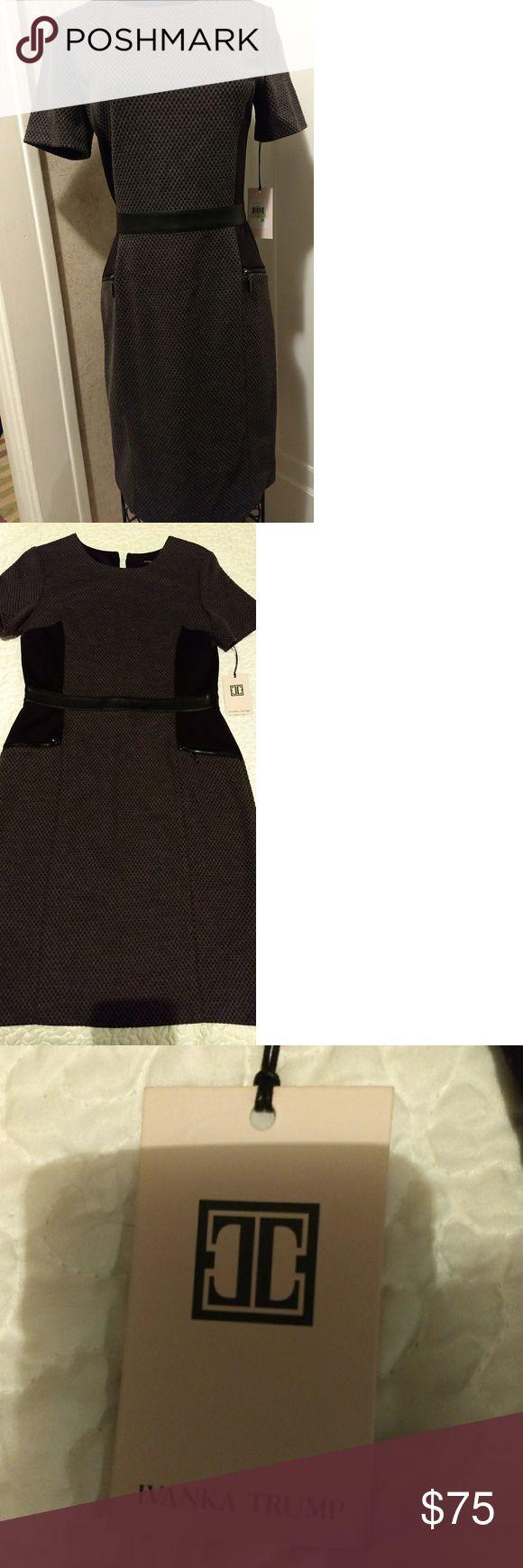 Ivanka Trump Dress Ivanka Trump Dress, figure flattering, with decorative zippers at hips, faux leather at waist, zipper in back, NWT, never worn. Ivanka Trump Dresses