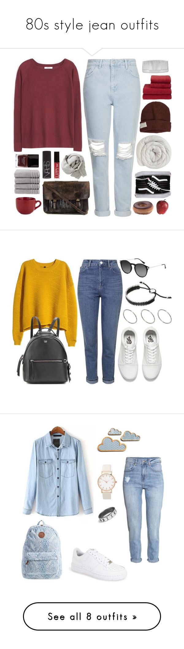 """80s style jean outfits"" by minkimina on Polyvore featuring MANGO, Topshop, Krochet Kids, Butter London, Christy, John Lewis, Vans, Pier 1 Imports, Priestley's Vintage and NARS Cosmetics"