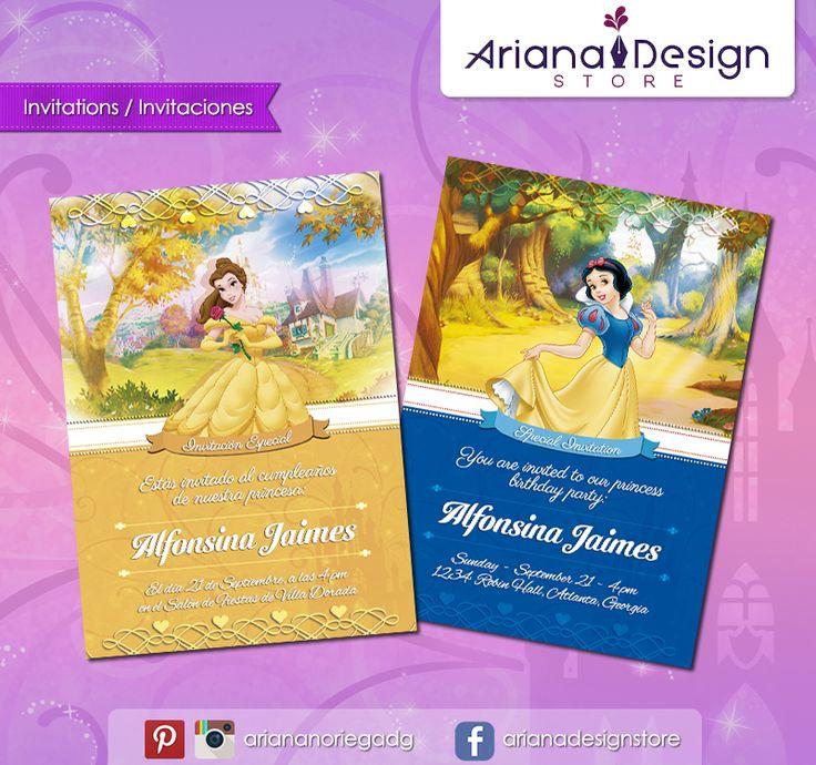 #printable #invitation #disneyprincess #snowwhite #princessbelle #beautyandthebeast #bellaylabestia #blancanieves #arianadesignstore #invitacion #fiestainfantil #cumpleaños