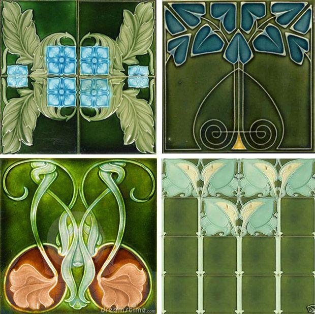 17 best images about art nouveau tiles on pinterest art for Arts crafts tiles