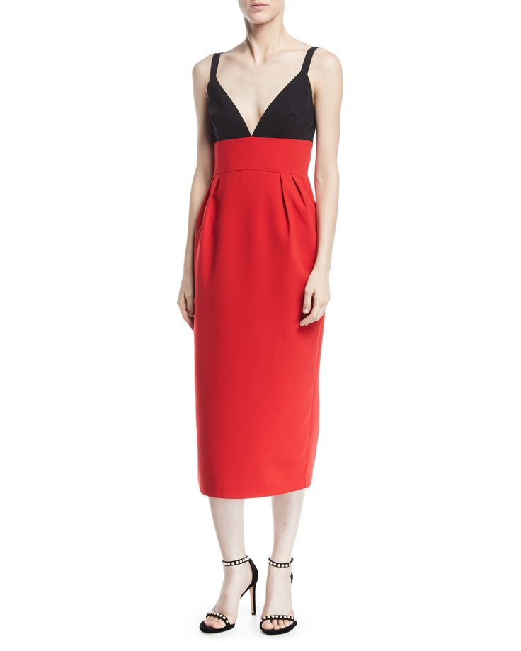JILL JILL STUART TWO-TONE V-NECK SLEEVELESS COCKTAIL DRESS. #jilljillstuart #cloth #