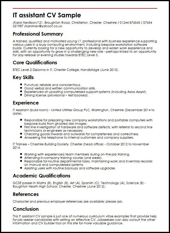 It Assistant Cv Sample Myperfectcv In 2020 Professional Resume Samples Professional Resume Examples Cv Template