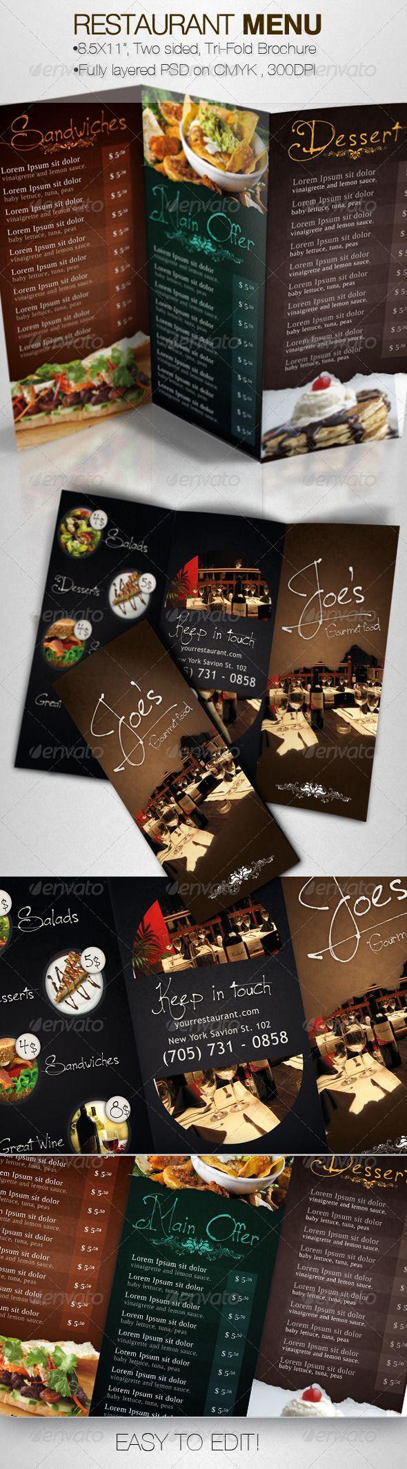 Tasty Restaurant Menu Tri-Fold Brochure