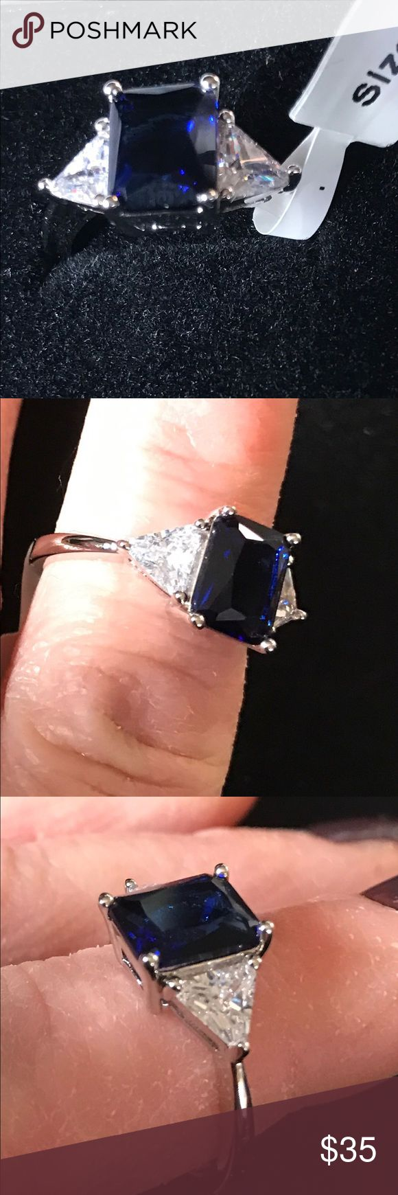 WGP size 7 blue radiant CZ White Gold Plated Classic Engagement Ring With 4.5ct Blue Radiant Cut And Trillion Cut Cubic Zirconia In A Prong Setting In Silvertone Jewelry Rings