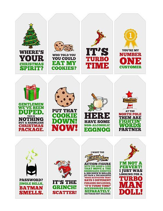 Jingle All The Way Quote Gift Tags | Printable ...