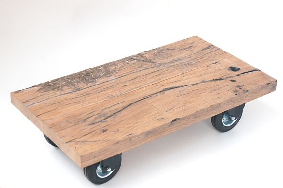 Coffee Table On Wheels Made With Reclaimed French Oak Planks Used In  Railroad Cars, From Houthaven Design, Utrecht, The Netherlands.