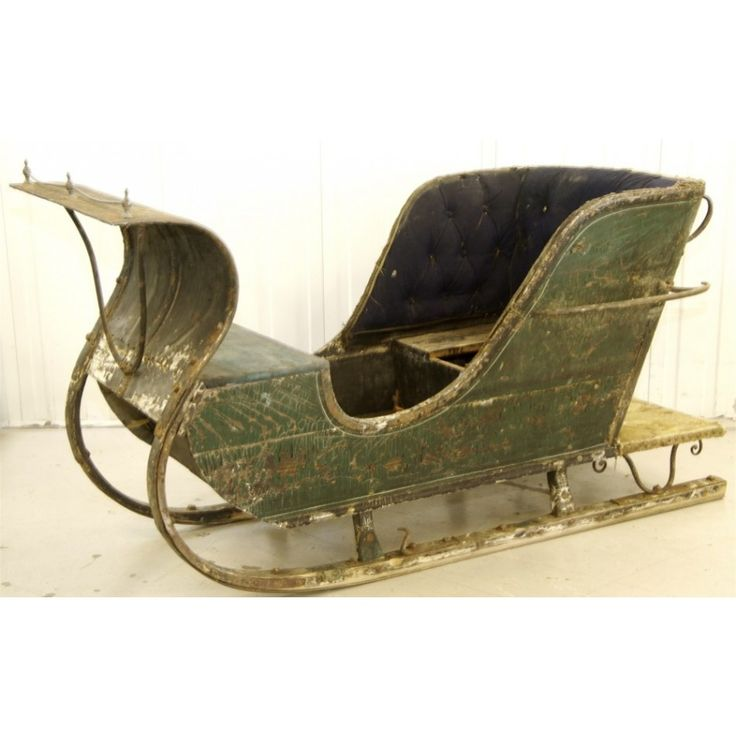 1800s real swedish antique green single sleigh sleds for Vintage sleds