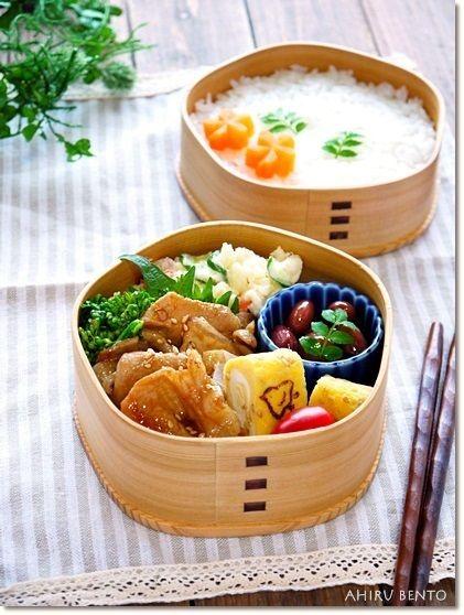 2014.1.15のお弁当【豚の生姜焼き弁当】|曲げわっぱのあひる弁当